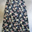 ROSH INDIANI vintage women's skirt black flowers print long maxi sz 40 (10 american)