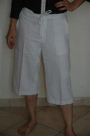 Flat White Front Drawstring Cropped Capri linen cotton Pants sz 40