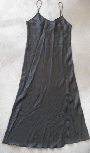 SATIN SHINY BLACK NOISY DRESS SLIP NIGHTY GOWN NIGHTGOWN LINGERIE CAMISON sz L by LAUNCH LINE