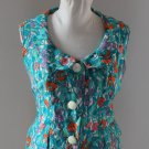 Great vintage vest top gilet customised sewing floral  blue sz S