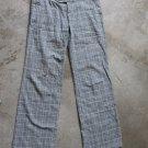 WOMEN junior gray plaid casual low rise pants sz 38