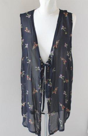Vest top gilet floral transparent black