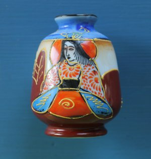 Handpainted Asian Miniature Small Vase with Glaze