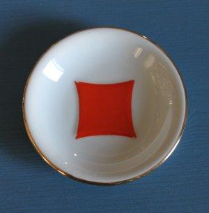"Vintage NAAMAN Porcelain Saucer Plate Golden Bar 4"" diameter"