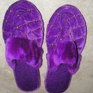Girls NWB purple velvet golden knobs stitched slippers
