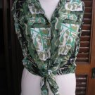 Women UCCELLI sleeveless military style print front tie belt shirt top sz S