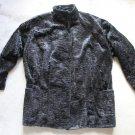 MIC CHARLES VINTAGE ASTRAKHAN FUR BLACK JACKET COAT MADE IN FRANCE