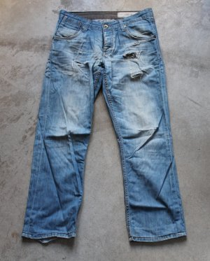 DEVERGO TIBB 2 basics denim blue jeans dżinsy low rise holes & patches relaxed fit pants trousers