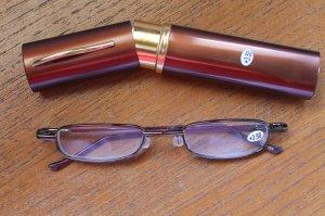 Brown Compact Reading Glasses & Slim Metal Case +3.50 thin semi rimless