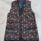 Black  Vest Size XXL Flowers Embroidered Fully Lined