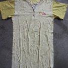 SEYKO Cotton Short Sleeves Robe Nightgown sz M yellow & white  stripes