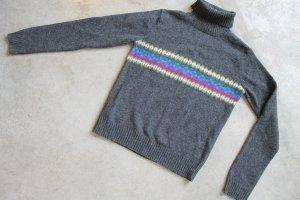 Bossini Ladies Womens Brown/Gray Striped Turtleneck Knit Top sz 11 Pure Wool