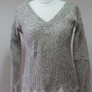 Sexy V-Neck Beige Ribbed Knit Top  3/4 sleeves sz S