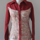 SIGAL DEKEL Red/Beige Printed Buttons Up Shirt Blouse top shirt chemise camicia blusa Sz 8