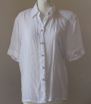 REGENT Women Button up Short Sleeves White Blouse top shirt chemise camicia blusa 38