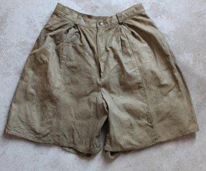 MAQUETTE Sz 46 Ladies Khaki Suede Leather Walking Shorts Pant Lined