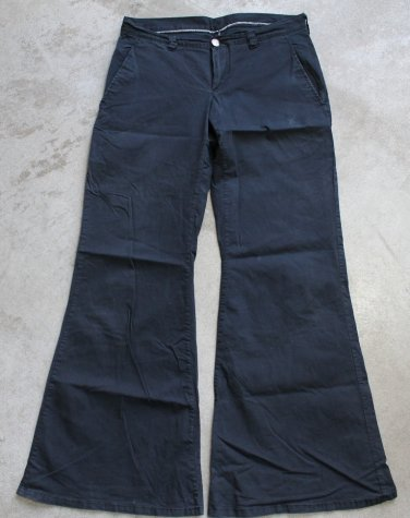 Black wide leg low rise women's Pant trousers pantalones hosen