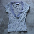 HENNES COLLECTION Gray Floral Printed Top T-Shirt Blouse Sz M