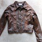 OSISHKIN PARIS Women's Brown Faux Leather 6 Buttons Blazer Jacket Sz 2 Small - Medium