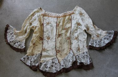 Boho Romantic 3/4 Sleeves Beige Floral Shirt Blouse top �л�зка Camicetta Sz S