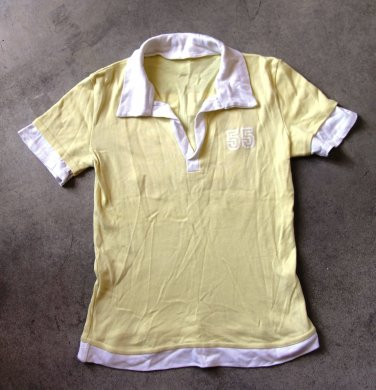 POLO Yellow Short Sleeves White Shirt Blouse tank top �л�зка Camicetta Sz M/L
