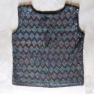 VINTAGE Black Sequin Heavy Beaded Vest Top Camisole Singlet Canotta tank top Sz S