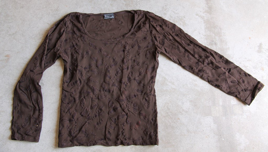HONIGMAN Brown Long Sleeves embroidered  Shirt Blouse tank top �л�зка Camicetta Sz 40