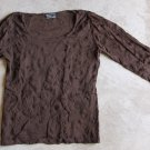 HONIGMAN Brown Long Sleeves embroidered  Shirt Blouse tank top Блузка Camicetta Sz 40