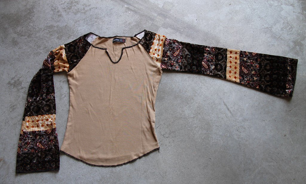 BERSHKA Sexy Brown Long Wide Sleeves Shirt Blouse tank top �л�зка Camicetta Sz M