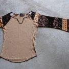 BERSHKA Sexy Brown Long Wide Sleeves Shirt Blouse tank top Блузка Camicetta Sz M
