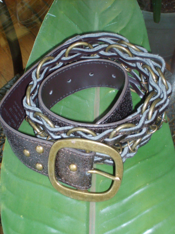 Brown Metallic & Chain Link Belt  Size XL*