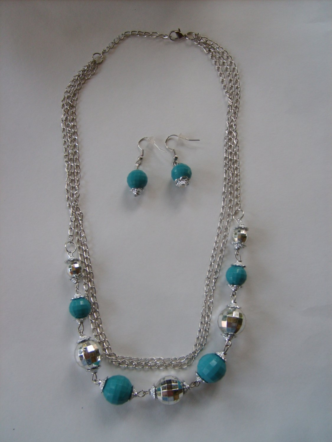 Turquoise Bead and Silvertone Disco Bead Necklace and Matching Earring Set