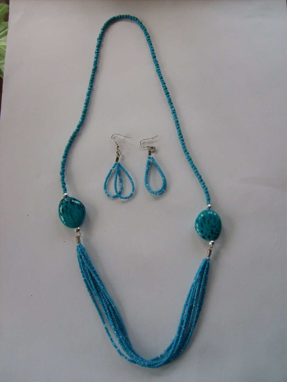 Ocean Blue assorted Beads Necklace and Matching Earrings Set