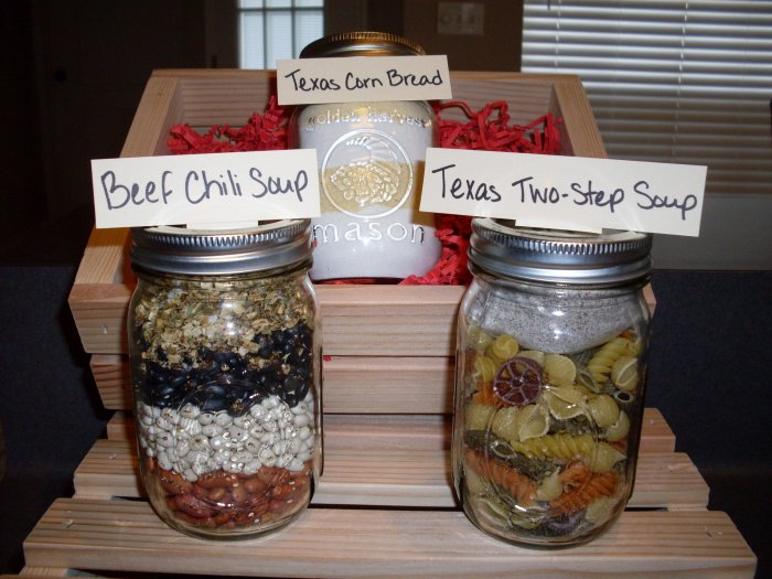 Beef Chili and Texas Two-Step Soup Mixes in Wooden Crate (2 soups)