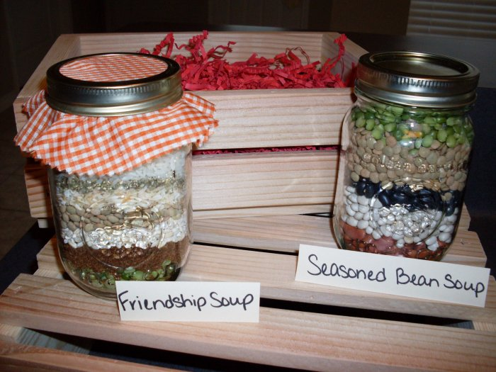 Friendship and Seasoned Bean Soup Mixes in Wooden Crate (2 soups)
