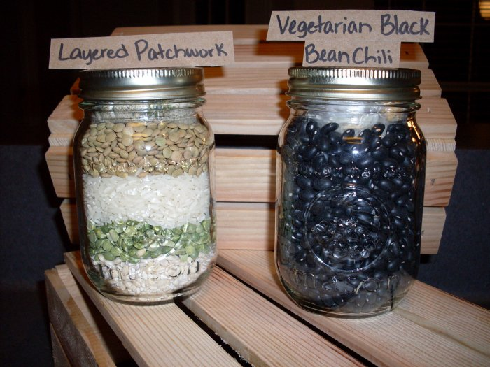Vegetarian Black Bean Chili and Layered Patchwork Soup Mixes in Wooden Crate (2 soup mixes)
