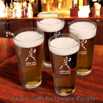 Set of 4 Sports Icon Pint Glasses  W/Personalized Free