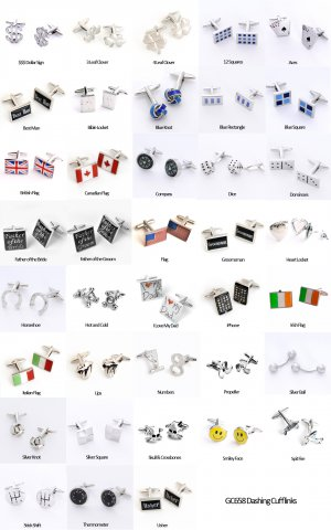 Dashing Cuff Links with Personalized Case - 23 Styles