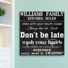 "14""x14"" Canvas - Family Kitchen Rules Canvas - Free Personalization"