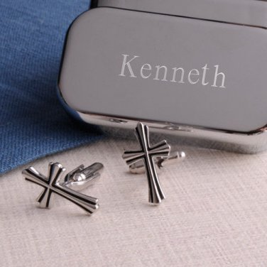 Cross Cufflinks with Personalized Case