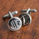 Silver Round Beaded Cufflinks - Free Personalization
