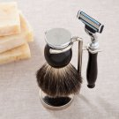Modern or Monogram Badger Hair Brush and Razor Shaving Set-Free Personalization