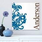 Blue Fleur-de-Lis Family Canvas Print - Free Personalization