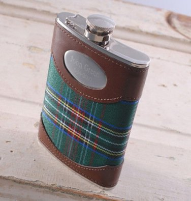 Green Plaid 8oz. Flask. - Free Personalization