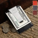Leather Money Clip and Card Holder - Free Personalization