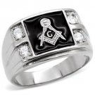 Silver Stainless Steel Masonic Ring Set with 4 CZ Stones