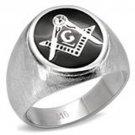 Stainless Steel Circle Masonic Ring with Black Enamel