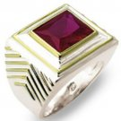Silver Plated Ruby Men's Ring with Gold Accents