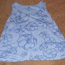 Avenue Blue Flower Pattern Ultimate Tank Top Size 30/32 - 100% Cotton