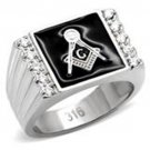 Stainless Steel Masonic Black Enamel Ring with 10 CZ Stones
